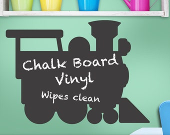 Chalkboard Decal Train Engine: Kids Playroom Decor, Kids Bedroom Decor, Boy, Girl, Teen, Toddler, Vinyl Wall Decal Chalk board (0179c43v)