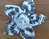 Five Point Fabric Flower - Black and White Sheet Music with Rosette Center High School Marching Band Parade