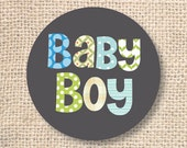 Funky Letters Baby Boy Printable Favor Circles - INSTANT DOWNLOAD