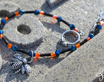 Bee Charm Bracelet (blue and black and orange)