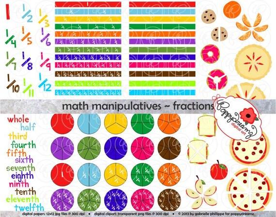 Fractions Clipart Set - (300 dpi) School Teacher Clip Art Numbers ...