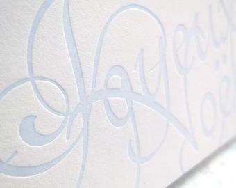 Letterpress Joyeux Noël Cards - Script in Ice Blue (Set of 6)