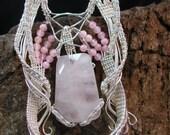 Reversable Pink rose quartz necklace
