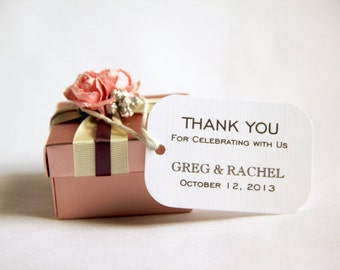 100 Custom Wedding Favor Gift Tags - Modern; Thank You for Celebrating with Us Customized with names hang tag bridal shower bridesmaid gift