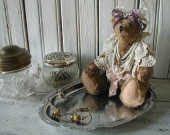 Shabby Chic  Bedroom Bath Jewelry Stash Vintage New Materials  Teddy Bear Lace Pearls Ribbon Metal Tray