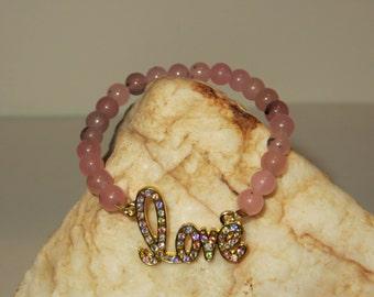Stretch Gold & Rhinestone Love Bracelet with Rose Quartz Beads