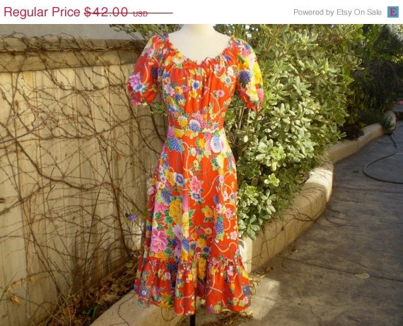 50% summer sale A vintage 1960s 1970s NOS red Hawaiian Japanese floral design smocked waist ruffled summer dress size S M
