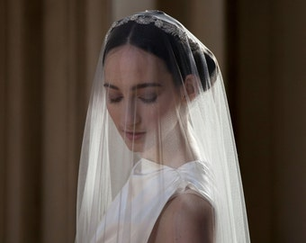 Greek Goddess Hair-Vine with crystal leaves and a veil in choice of lengths, waltz, chapel, cathedral