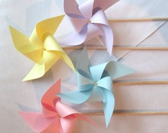 Pretty Pastel Pinwheels Set of 16 Pinwheels Custom Made to Order in Any Solid Colors perfect for wedding favors or wedding table markers