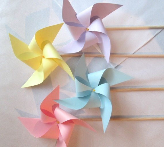 Pretty Pastel Pinwheels Custom Made Party Favors Wedding