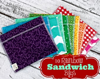 10 Rainbow Sandwich bags- Party favors - class gifts- birthday - FREE US SHIPPING
