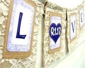 LOVE & DATE Lace Bunting, Burlap Wedding Banner, Unique Save the Date, Wedding Announcement, Engagement Photo Prop