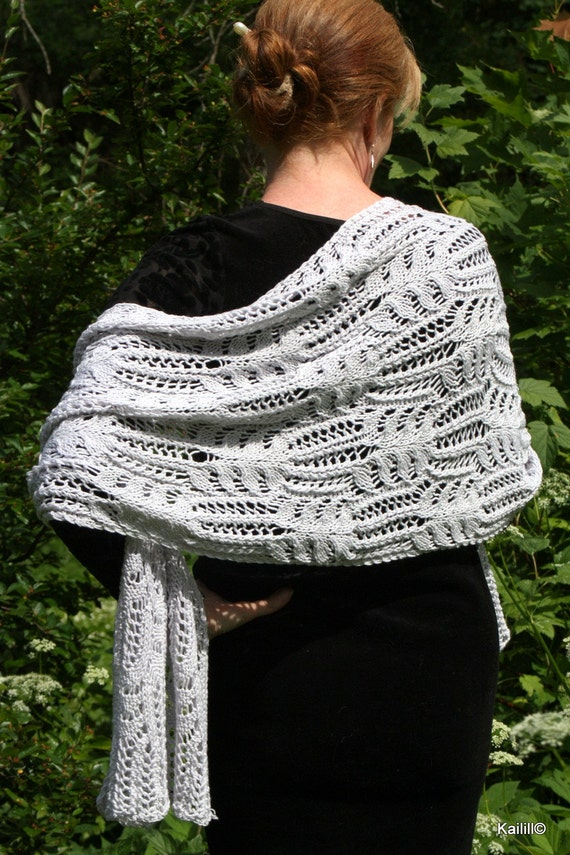 SALE 20% Frost flowers hand knitted lace stole wrap shawl light silver gray luxurious merino wool silk