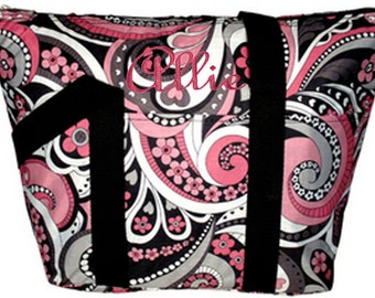 Personalized Insulated Lunch Tote Black & Pink Satin Paisley Design