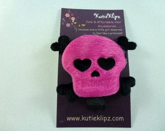Punk Princess Hot Pink Skull and Black Cross Bones Hair Clip - 1.99cents Hairclip, Hair Clip, Hair Bow, Hairbow, Hair Accessory