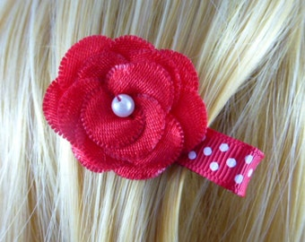 NEW  - Chic Red Layered Satin Flower Clip....1.99, Hair clip,Hairclip,Hairbow,Hair Bow,Hair Accessory - HM85