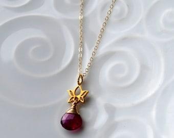 Pink Tourmaline Lotus Flower Necklace, Yoga Jewelry, Petite Lotus