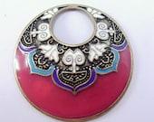 Vintage cloisonne style fuschia colored enameled Indian tribal pendant