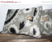 RESERVED for Cat Pillow Cover 12x16 Suzani Print, Gray Blue, Black, Oatmeal, Stone Gray Background. Wood Button