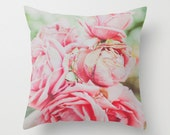 Pillow Cover, Pink Pillow, Throw Pillow, Pink Roses, Living-Room Pillow, 16x16 Pillow Decorative, Home Pastel Decor, Feminine - Cotton Candy