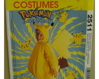 Pokemon Pikachu Costume Sewing Pattern, Children. Japanese Cartoon, Nintendo Game Hero, McCalls No. 2511 UNCUT Child Size 4 5 6 7 8
