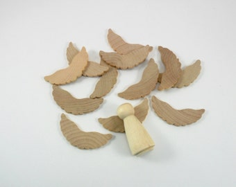 """12 Wings 2 1/4"""" x 1"""" W Peg Doll Angel Wings Scalloped Unfinished Wood Wings Fits 2"""" Doll"""