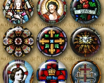 1 inch Digital Printable Circles STAINED GLASS PHOTO collage sheet for making Jewelry Magnets Crafts...Religious Catholic Art