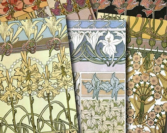 MUCHA FLORAL MOTIFS Digital Printable collage sheet for Tags Cards Paper Crafts..Victorian Art Nouveau Design Patterns