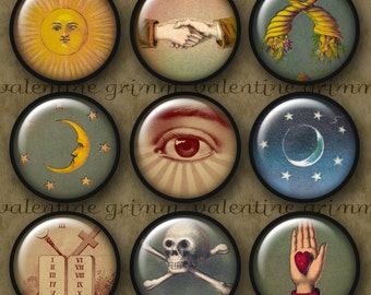 VINTAGE SYMBOLS #1 - 1 inch Circles Digital Printable collage sheet for Pendants Magnets Crafts..Masonic Suns Moons Stars Skulls Eyes