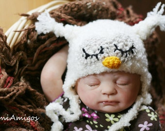 Crochet Fuzzy White Sleepy Owl Hat (Newborn)