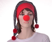 Jester Hat Black White Red Striped Lightweight Harlequin Court Fool Mardi Gras Carnival
