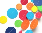 Multi color circle paper garland (15 feet) - READY TO SHIP