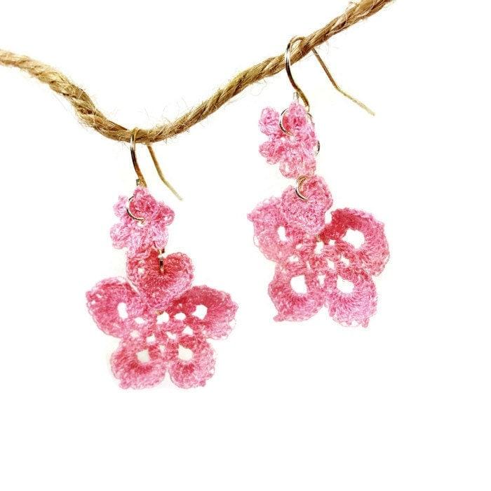 Crochet Hook Earrings: I Love Spring Crochet Fish Hook Earring Sterling Silver