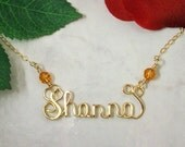 Calligraphy Script Personalized Name Necklace in Heavy Gauge 14k Gold Filled Wire