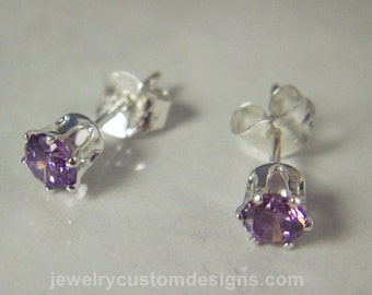 Amethyst Lab Created stud earrings, tiny 4mm studs, February birthstone, personalized