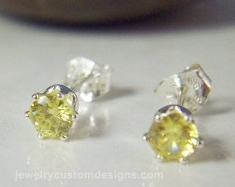 4mm Lab Pale Yellow Topaz Earring Studs in Sterling Silver, November Birthstone posts