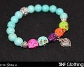 Sagrado Corazón - Turquoise Skull Bracelet