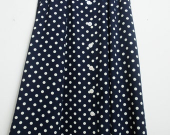Cute Vintage 80s/90s Black and White Polka Dot High Waisted Skirt That Buttons Up the Front