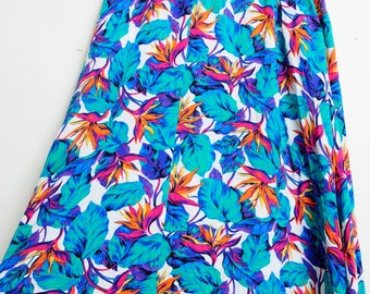 Awesome Vintage 80s/90s Bright Colored Tropical Flowers High Waisted Funky Summer Fun Skirt