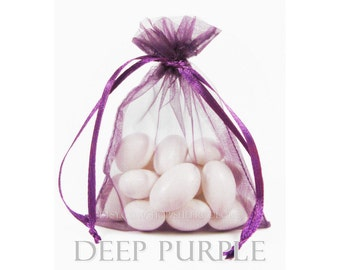 100 Deep Purple Organza Bags, 3 x 4 Inch Sheer Fabric Favor Bags,  For Wedding Favors, Jewelry Pouches