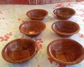 Tiny wooden parquet bowls, set of 6