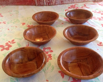 Tiny wooden parquet bowls, set of 6