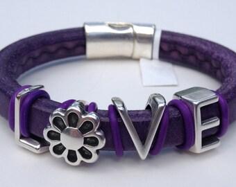 Regaliz Leather Bracelet - Purple LOVE- 9/1/13