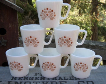 6 Pyrex Coffee Mugs in Summer Impressions - Oak Hill Vintage