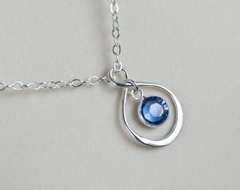 Infinity Birthstone Necklace - Swarovski Birthstone Necklace - Sterling Silver Swarovski Birthstone Necklace - Personalized Gift