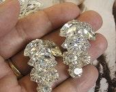 Vintage Inspired Wedding Bridal Earrings ,Crystal Rhinestone earrings, Sparkle earrings, Wedding jewelry Earrings, Bridal Clip On Earrings