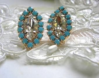 Marquise Crystal Stud earrings, turquoise post earrings, Sparkle earrings,14 k rose gold plated post earrings, wedding jewelry