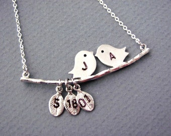 Personalized Silver Love Birds Necklace- Valentine, mom, anniversary, engagement gift, original design by ACutieChick.
