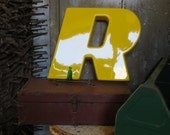 Capital Marquee Channel Sign Letter Italic 'R': Brand New Bright Lemon Yellow Wall Hanging Initial in Mod Slanted Font - Advertising Salvage