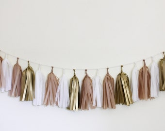 Gold Party Decorations : Tissue Tassel Garland Kit - Golden